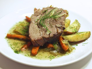 braised garlic pork shoulder with potato, carrot, onion, and fennel | by andy pucko