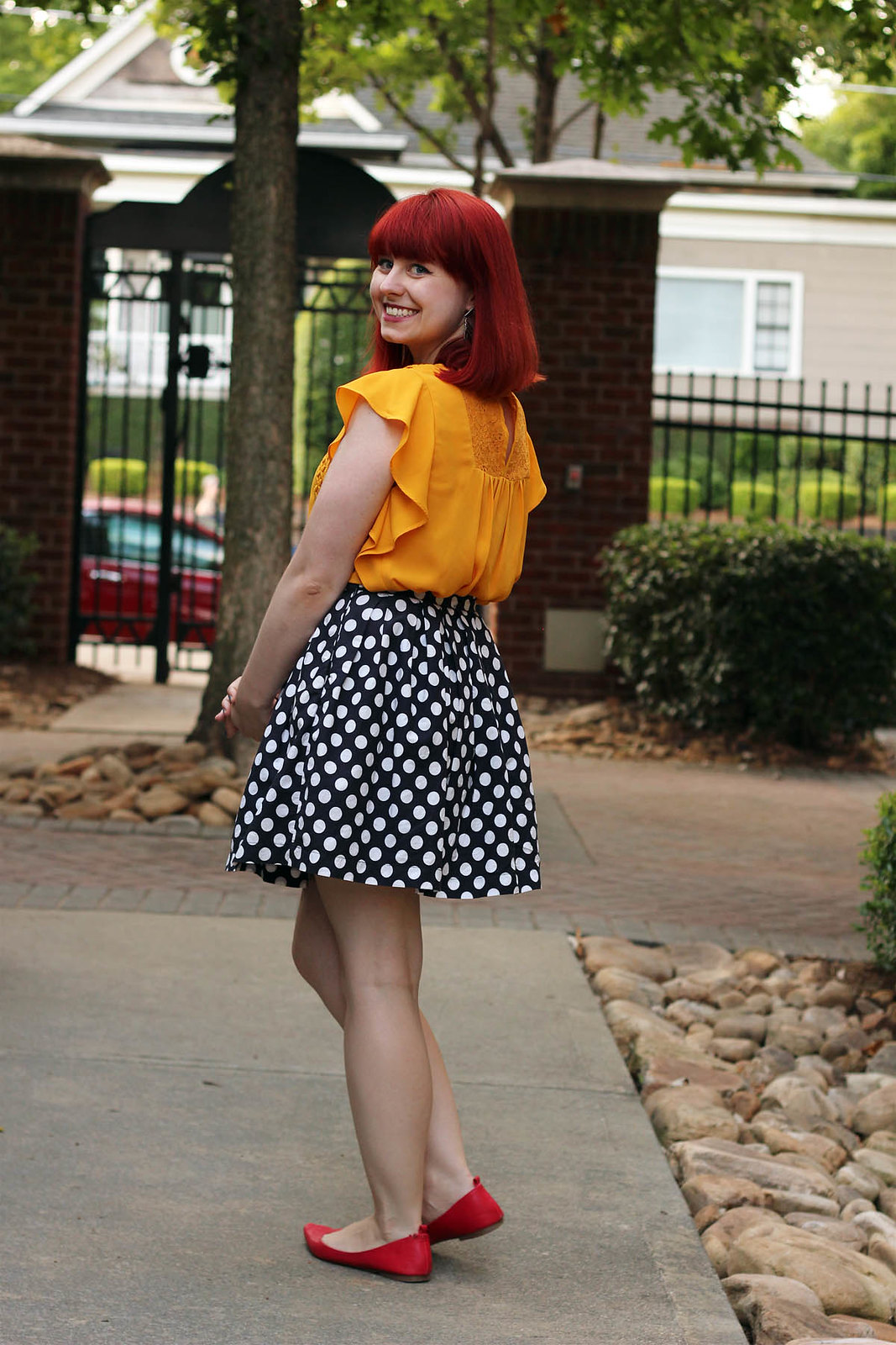 Mustard Yellow Ruffle Sleeve Shirt Polka Dot Pleated Skirt Red Pointed Flats