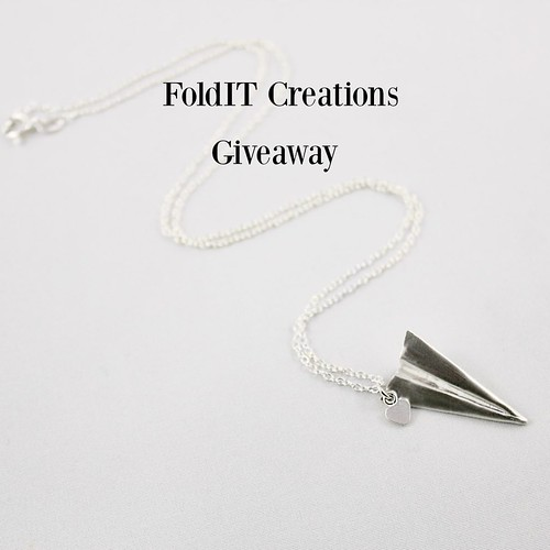 Silver Folded Paper Airplane Necklace - Giveaway