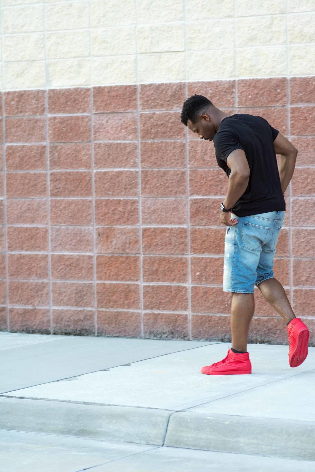 how to wear red shoes, keshaun fudge