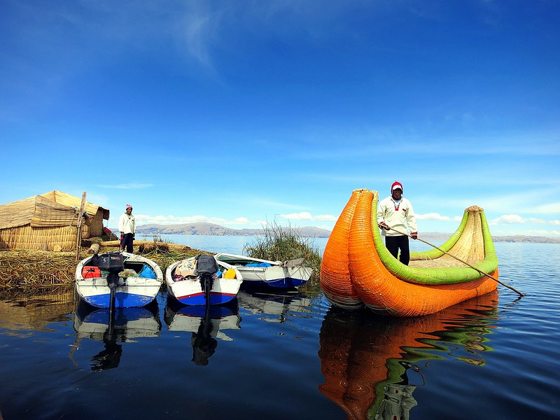 Reed boat on Lake Titicaca