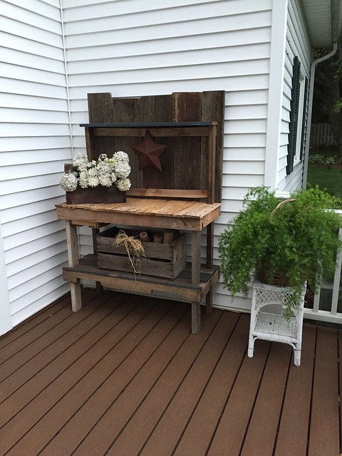 a potting table and fern on the back deck