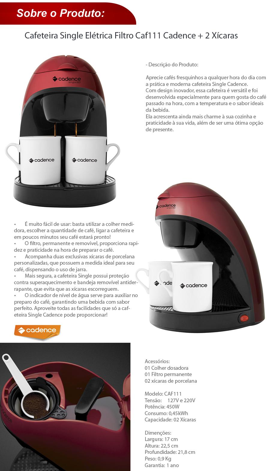 Cafeteira Single Elétrica Filtro Caf111 Cadence + 2 Xícaras
