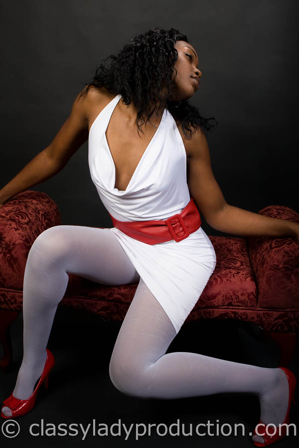 Ebony In Tights  Sexy Black Girl In Tights, White Dress -8412