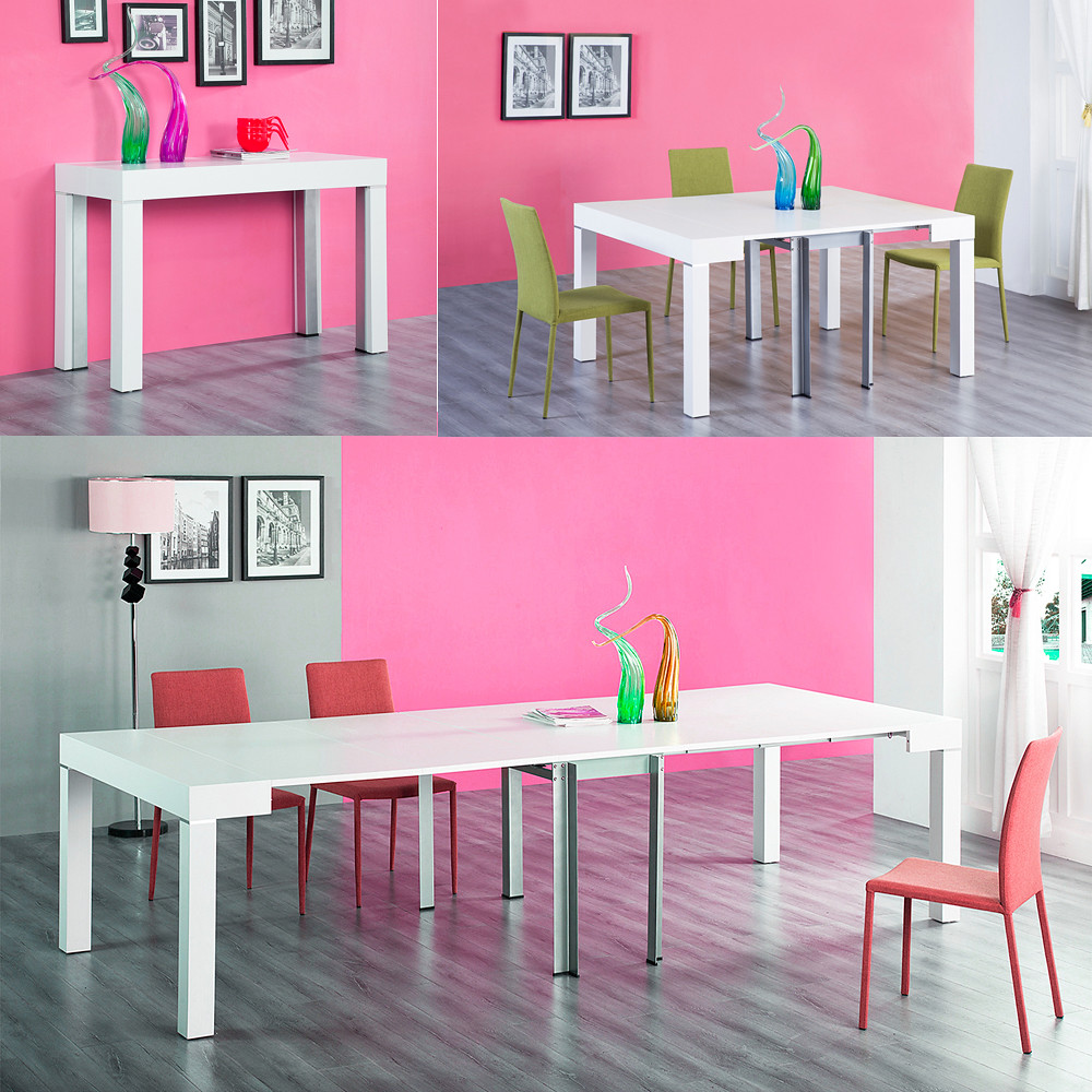 Table salle a manger console extensible 3 metres stacy for Console transformable en table salle a manger