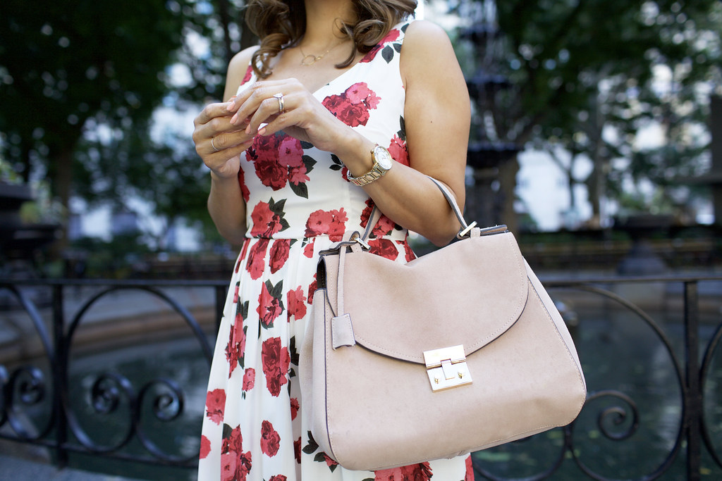 floral dress with pink bag and christian louboutin pigalle nude heels on Corporate Catwalk in New York City during the summer