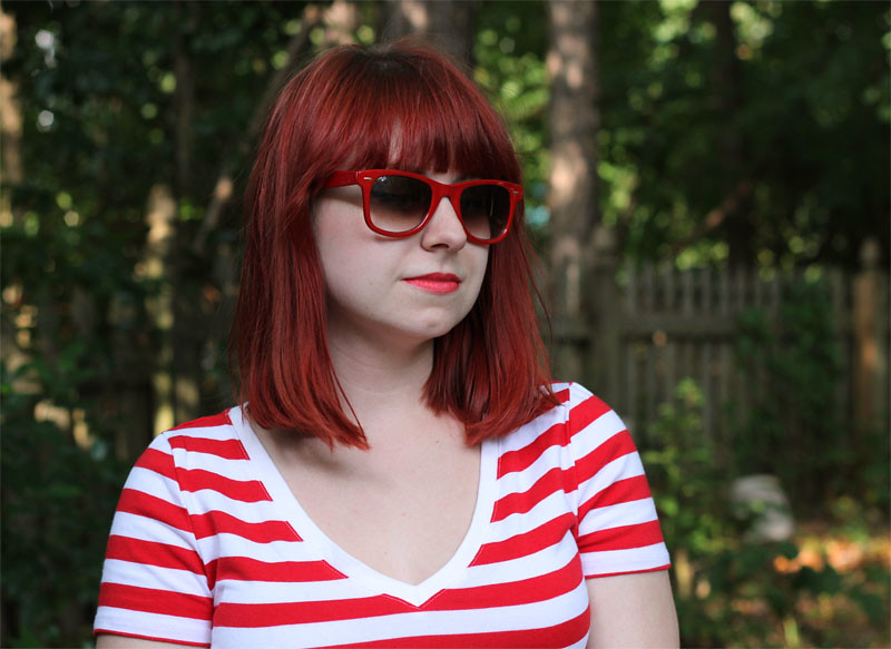 Red Wayfarer Sunglasses and Red Hair