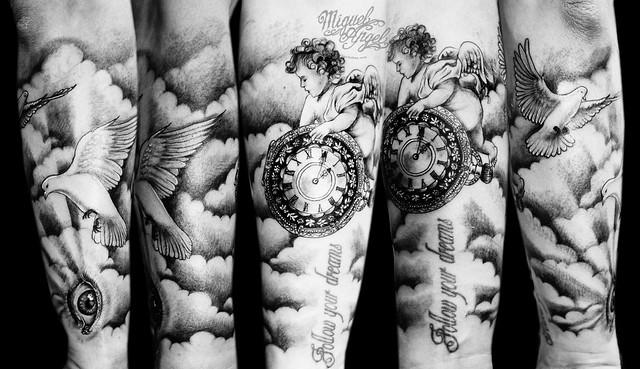 Cherub Pocket Watch Doves Eye And Clouds Custom Tattoo