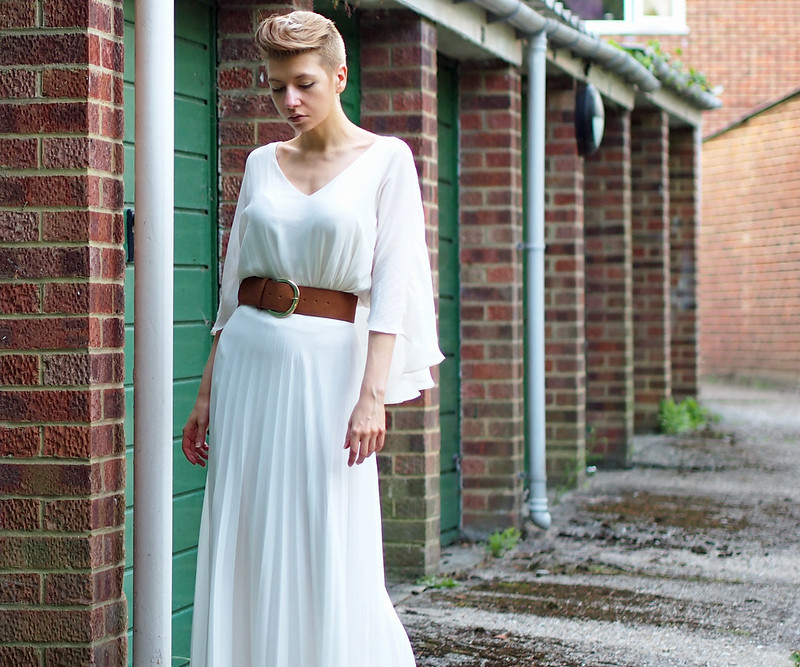 Caped Top - Forever 21, Tan Waisted Belt - Primark, Pleated Maxi Skirt - Jane Norman
