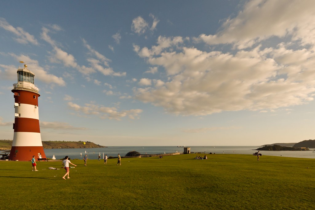 Plymouth Sound Amp Smeaton S Tower Wide Angle View Of