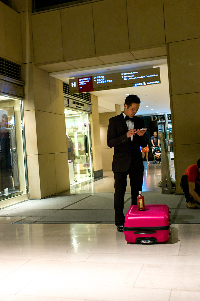 Man in Black with Pink suitcase | Man in Black with Pink sui… | Flickr