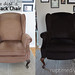 How to Dye a Wingback Chair, before and after