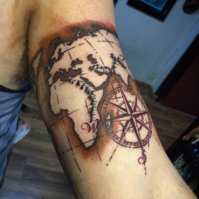 Tattoo Designs Gents: 20 Terrific World Map Tattoo Design Ideas