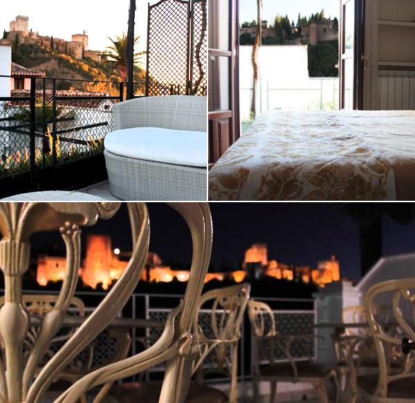 Villa Rosa de Comares y su terraza por la noche con la Alhambra iluminada