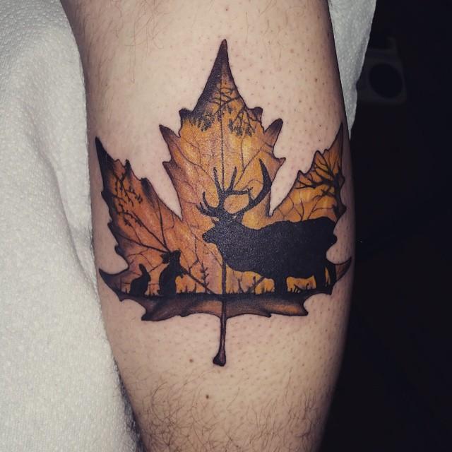 Maple Tree Tattoos: Maple Leaf Tattoo I Did On Calf. #leaf #leaves #mapleleaf