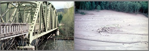 Image on the left shows a typical Northwest bridge, which has a green steel framework over it. Image on the right shows a sea of mud with the twisted remains of the steel frame stuck in.