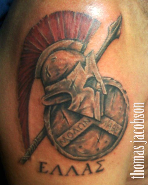 roman shield and helmet tattoo by thomas jacobson flickr photo sharing. Black Bedroom Furniture Sets. Home Design Ideas