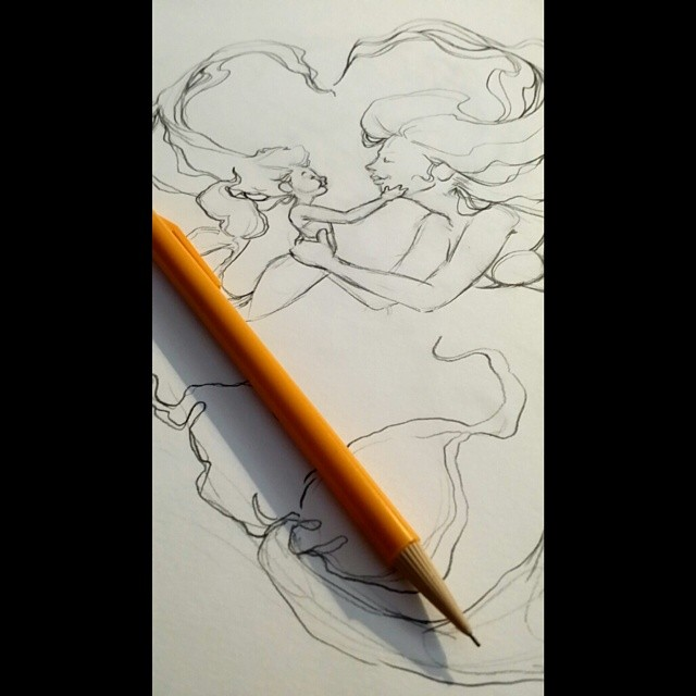 Working on a gift for a friend's baby shower. SheLove mermaids and is having a precious little girl. Can't wait to see how this turns out. Stay tuned tonight for more updates as I work on this. #wip #mermaid #illustration #instagood #instaart #art #pencil