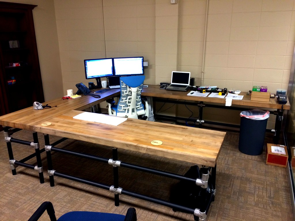 U Shaped Butcher Block Desk Learn How To Build A Desk