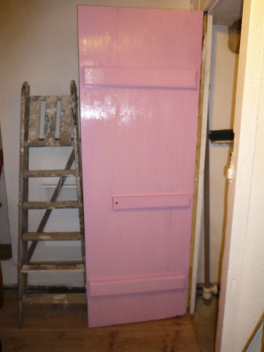 Pink inside toilet door