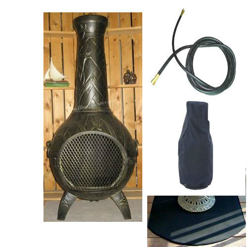 QBC Bundled Blue Rooster Orchid Chiminea with Propane Gas Kit, Half Round Flexbile Fire Resistent Chiminea Pads, 20 ft Gas line, and Free Cov Gold Accent Color - Plus Free QBC Metal Chiminea Guide