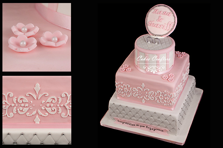 Engagement Ring Cake Decorations : Ring Box Engagement Cake Three tiers quilted, damask and ...