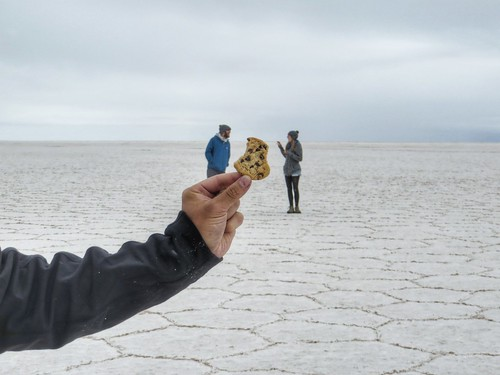 eating cookies on the Salt Flats