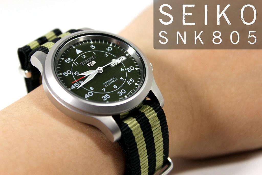 Seiko 5 SNK805 with Khaki Stripe NATO Strap   Green face w ...