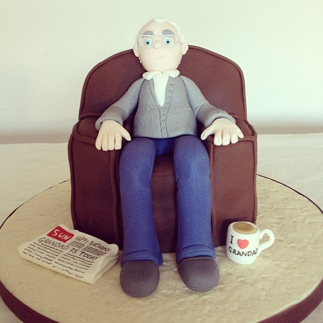 Grandpa In Arm Chair Littlebake Grandad Grandpa Cake