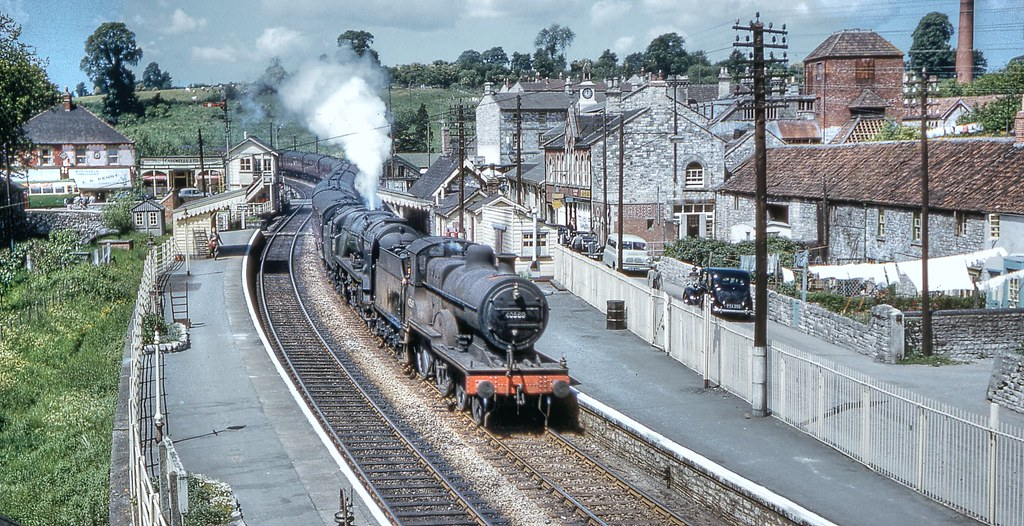 40569 & 34047 Callington entering Radstock station May 196 ... Pacific Railway Company