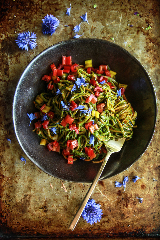 Sweet Potato Noodles with Creamy Rainbow Chard Pesto | Heather Christo
