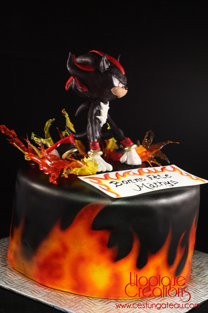 Shadow the Hedgehog cake | Airbrushed flames with ...