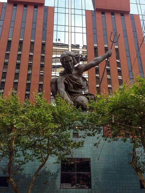 Portlandia statue on the portland building explore steve for Garden statues portland oregon