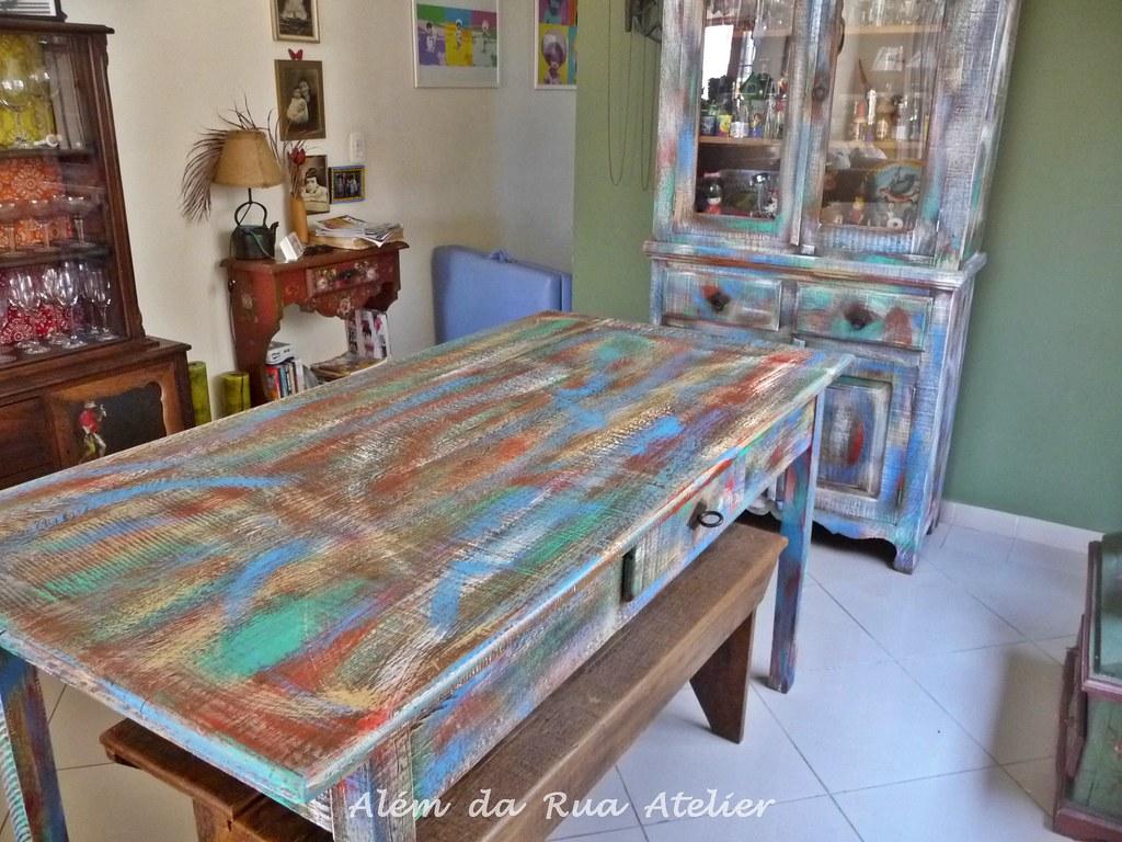 Pátina colorida em móveis de madeira Ameiiiiiiiii fazer es  #41638A 1024x768