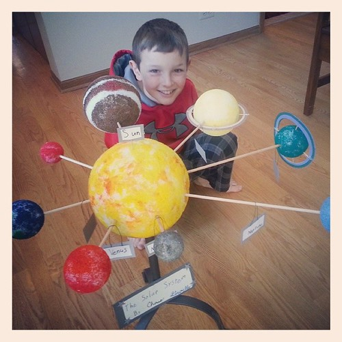 The finished product!   He is so excited about his solar system.