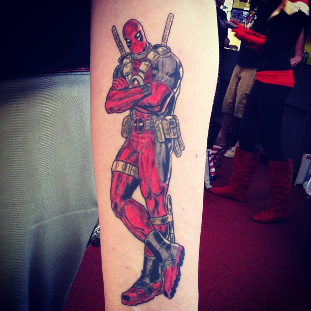 Steve 39 s deadpool tattoo cc gerryduggan kelly sue for Steve s tattoo