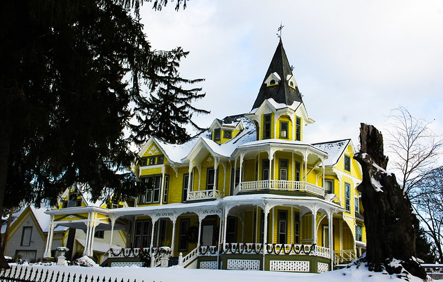 Yellow Victorian House Covered In Snow Newton NJ