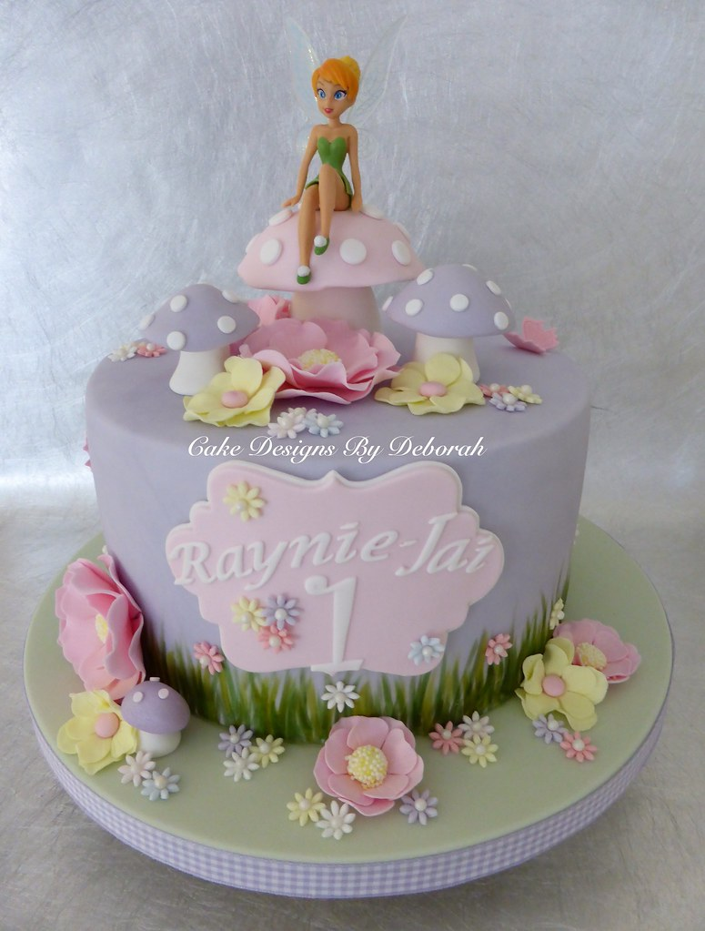 Tinkerbell a pretty cake for a little girls 1st birthday for Fairy garden birthday cake designs