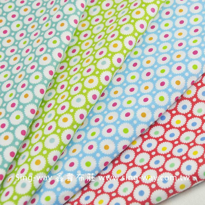 彩虹點小花 淘氣花園花卉 手工藝DIy拼布布料 CA490334