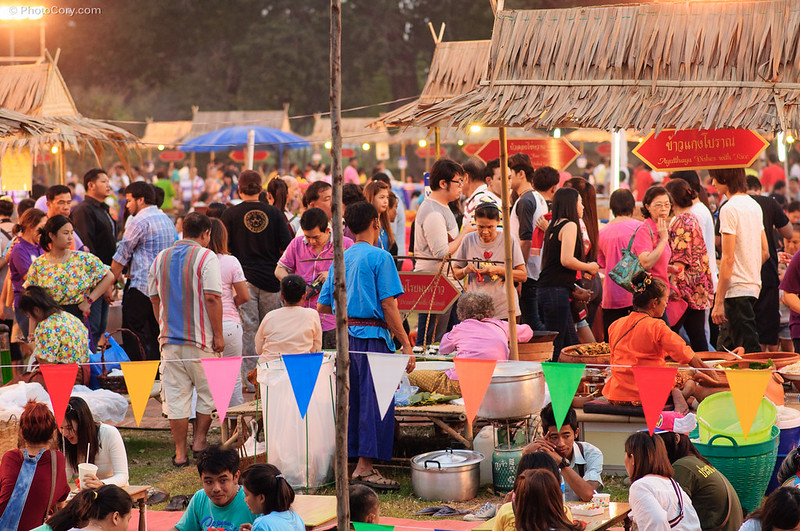 people at a local fair in Ayutthaya