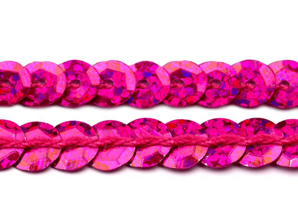 Paillettenborte hologramm 6mm, lila-rosa