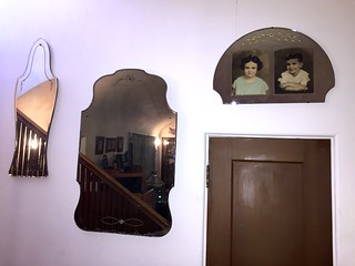 3 Walter Van Gilder carved mirrors, one with photos of Eleanor and Robert Creekmore as children