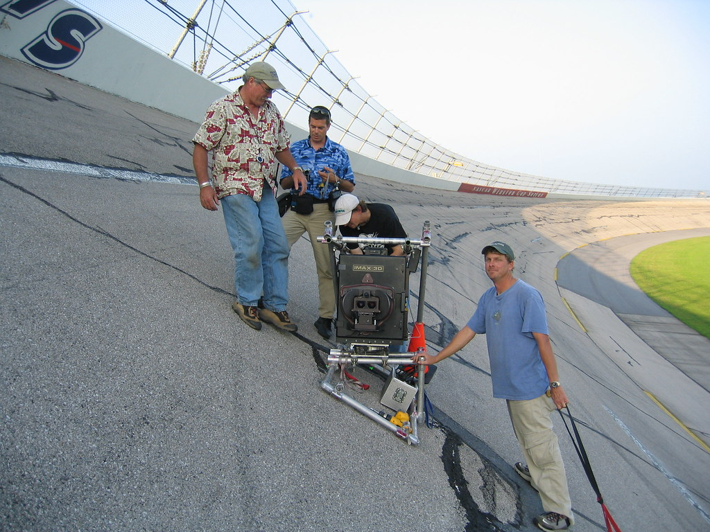 Talladega Motor Speedway Crew Setting Up Imax 3d Camera