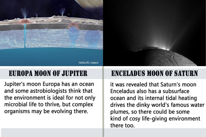 Europa and Enceladus two moons in our solar system that could harbour life