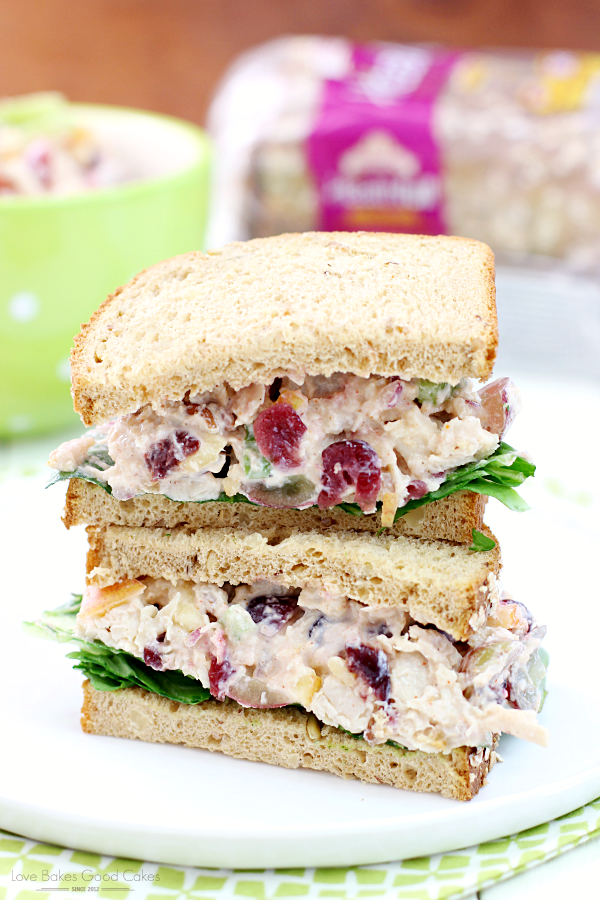 Lighter Chicken Salad Sandwiches on a white plate.