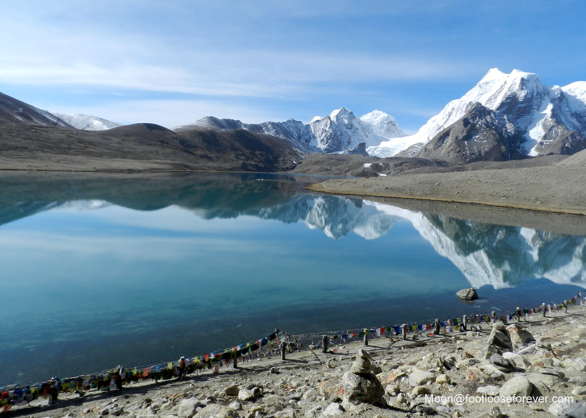 lake gurudongmar, north sikkim, reflection