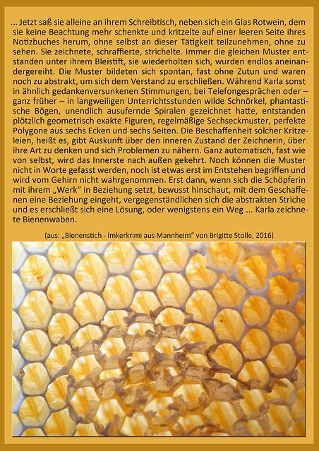 """Ein Honigrähmchen, auf dem alle Waben mit Honig strotzend gefüllt und mit einer schützenden Wachsschicht verschlossen sind, ist ein stabiles und recht schweres Ding, das gut und gerne 2 Kilo auf die Waage bringt. Nachdem die Waben die Honigschleuder verlassen haben, leergeschleudert und in ihrer wächsernen Grundstruktur zerstört, beiben filigrane Gebilde zurück, die mich durch ihre Zartheit und Zerbrechlichkeit immer zu Fotoversuchen animiert haben; keines gleicht dem anderen. Ich finde diese nunmehr ausgedienten Waben wunderschön ... Das Zitat stammt aus: """"Bienenstich - Imkerkrimi aus Mannheim"""", 2016. Buch und Foto: Brigitte Stolle"""