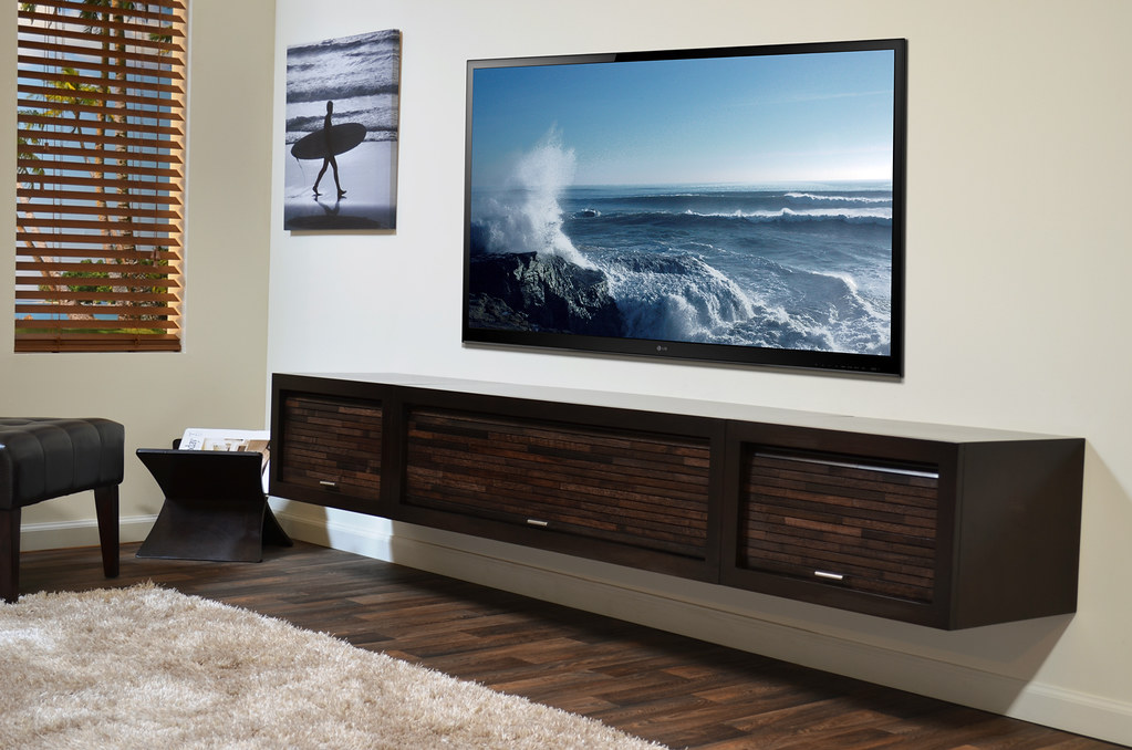 Wall Mount Media Stand Eco Geo Entertainment Center Espres
