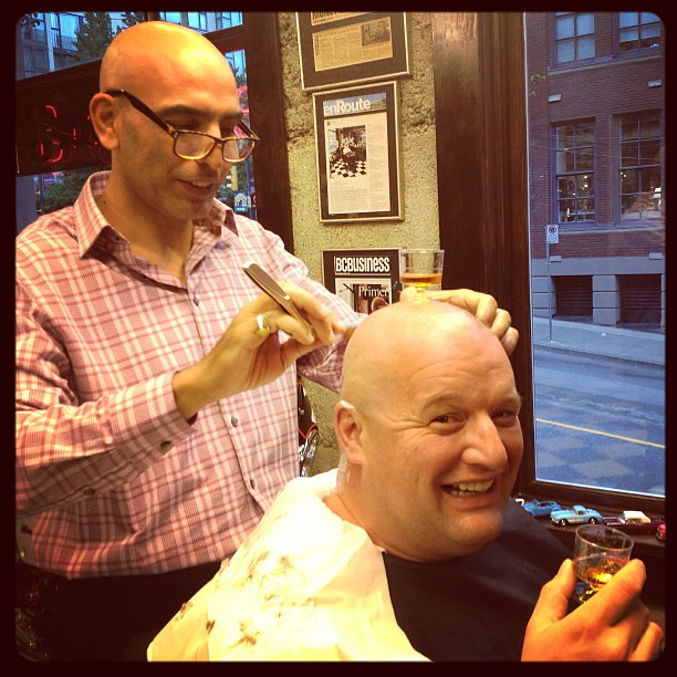 Barber Shop Hours : Barber shop after hours.....head shave and a little Brandy with Jak ...