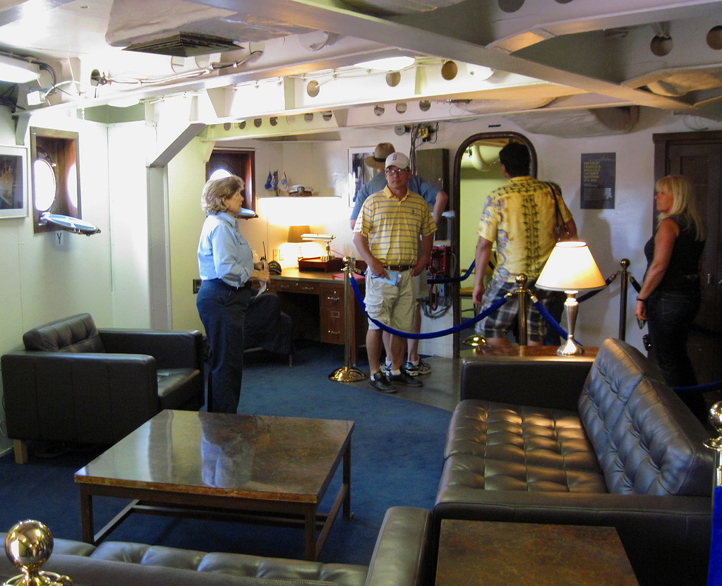 Getting A Tour Of The Captain S Stateroom On Board The Uss